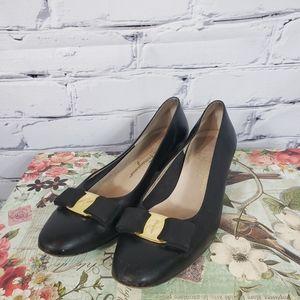 Vintage Ferragamo Black Bow Shoes